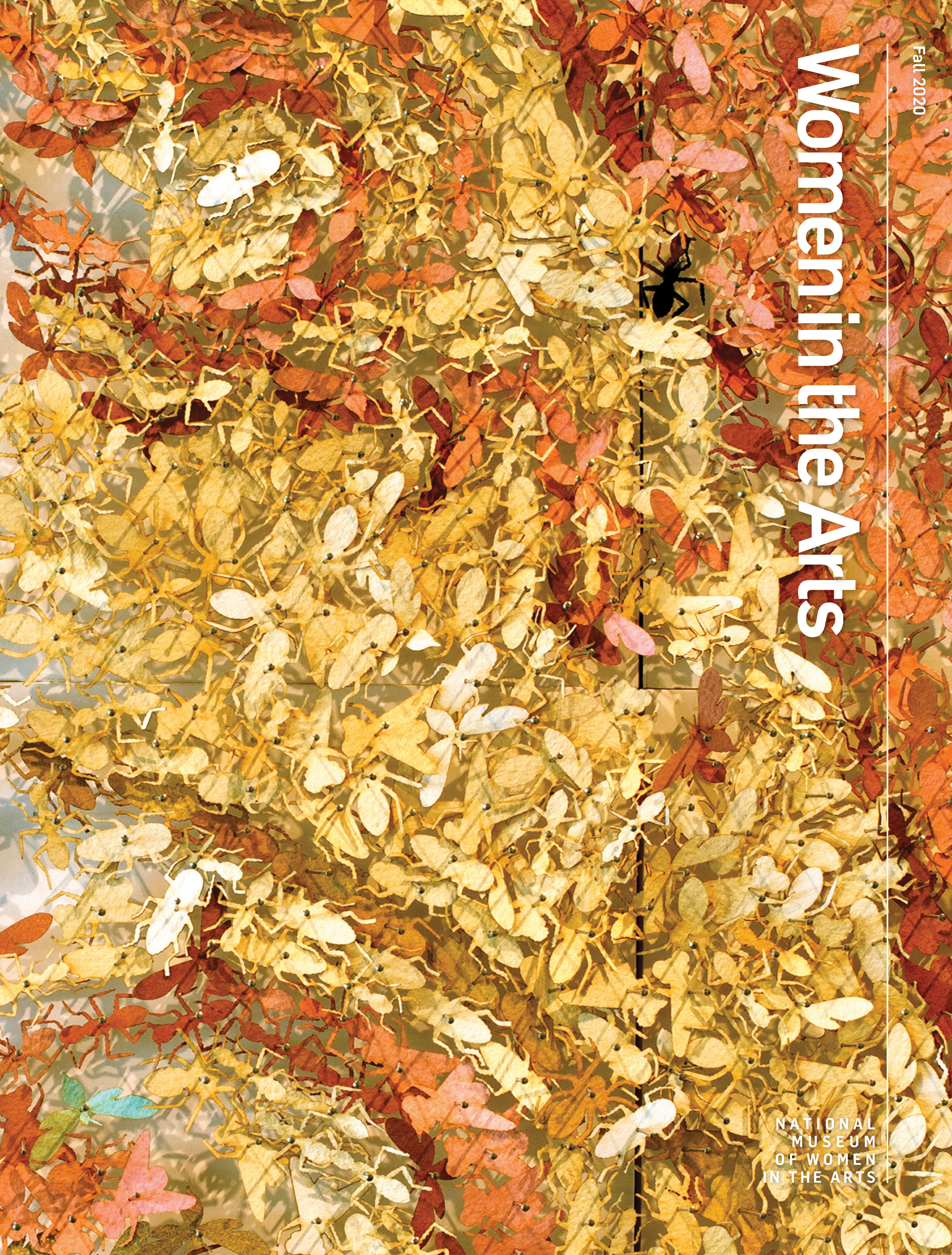 Women in the Arts magazine cover features a close-up look at an artwork made of cut paper insects in metallic hues of gold and copper.