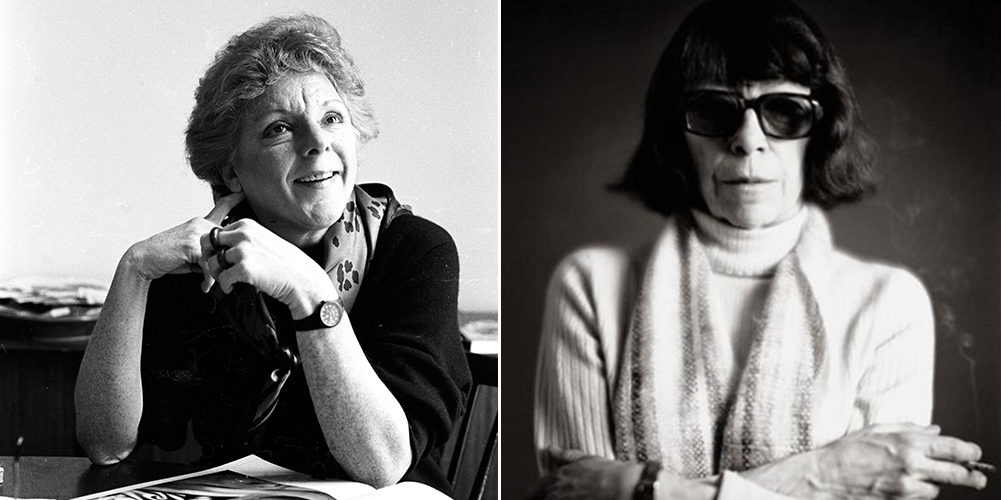 A composite photo of two black-and-white portraits featuring, on the left, seated art scholar Linda Nochlin. She is dressed in a dark sweater and a print scarf, she gazes with a smile up to her left. An oversized art book is opened on the surface in front of her. The right photo features a light-skinned older woman with dark bobbed hair. She wears sunglasses, a light-colored turtleneck sweater, a striped scarf, and a watch. She stands with arms folded and holding a lit cigarette between her left index and middle fingers.