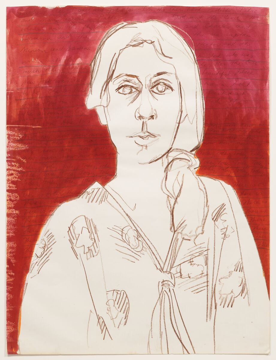 A sketch of a woman outlined in brown stands in front of a red streaked canvas. Her medium-length hair is gathered in a ponytail on her left side and her v-neck long-sleeved shirt is covered in large floral print. She stares at the viewer with empty eyes and parted lips.