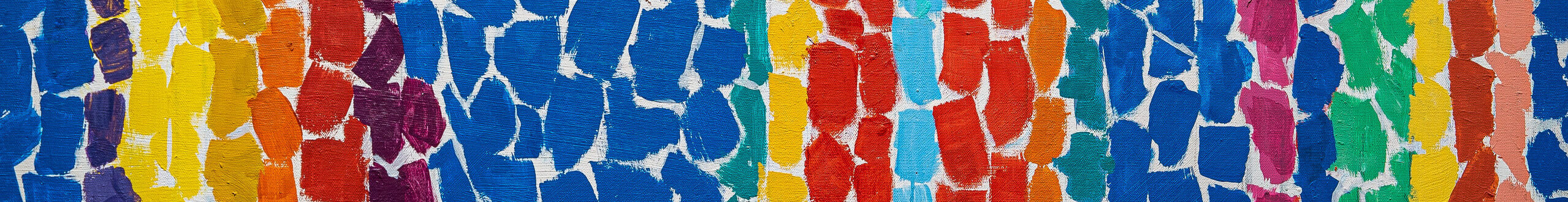 Abstract painting composed of brightly colored, lozenge-shaped brushstrokes in vertical stripes of navy, purple, turqouise, yellow, orange and red.The overall effect is as if the painting was collaged out of torn pieces of paper, with the white of the canvas showing through.