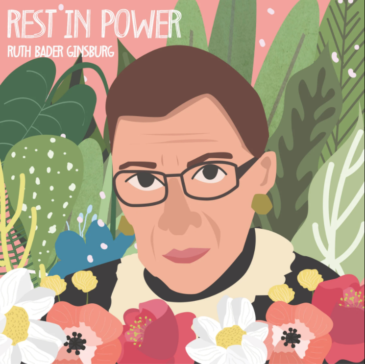 """A digital illustration in pastel colors features the face of Ruth Bader Ginsburg amid colorful flowers and tropical plants. In the upper left corner is white text that reads """"Rest in Power, Ruth Bader Ginsburg."""""""