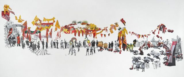 A long horizontal rectangle with small numerous figures and images collaged on the surface. Black and white figures in soldier's uniforms stand and lay down, along with yellow and red banners, flags, and garlands.