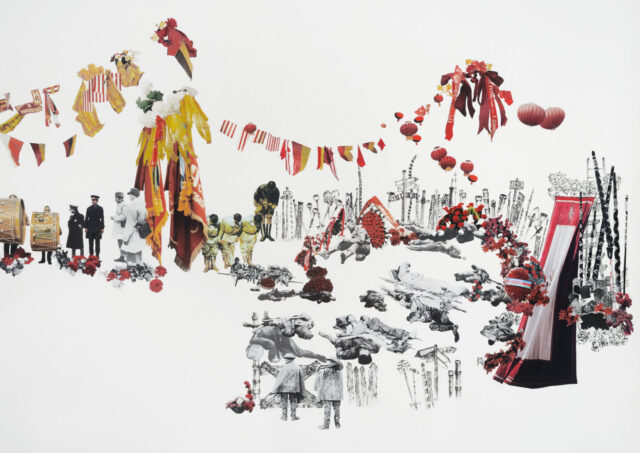 Detail of a collage of black and white images of soldiers standing and laying down with red and yellow flags, balloons, and ribbons hanging over them.