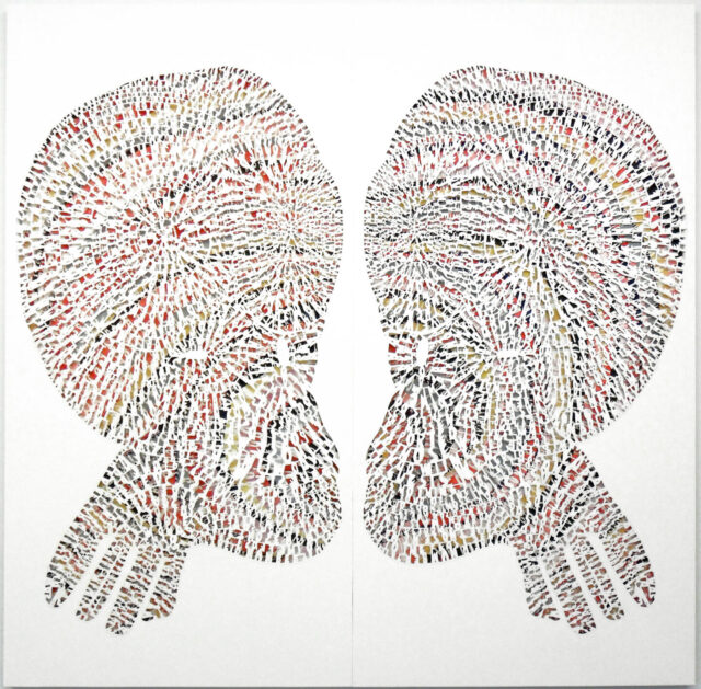 Two symmetrical forms that appear as heads with enlarged crania face each other. A colorful background for the heads peek through behind thousands of cut paper letters.