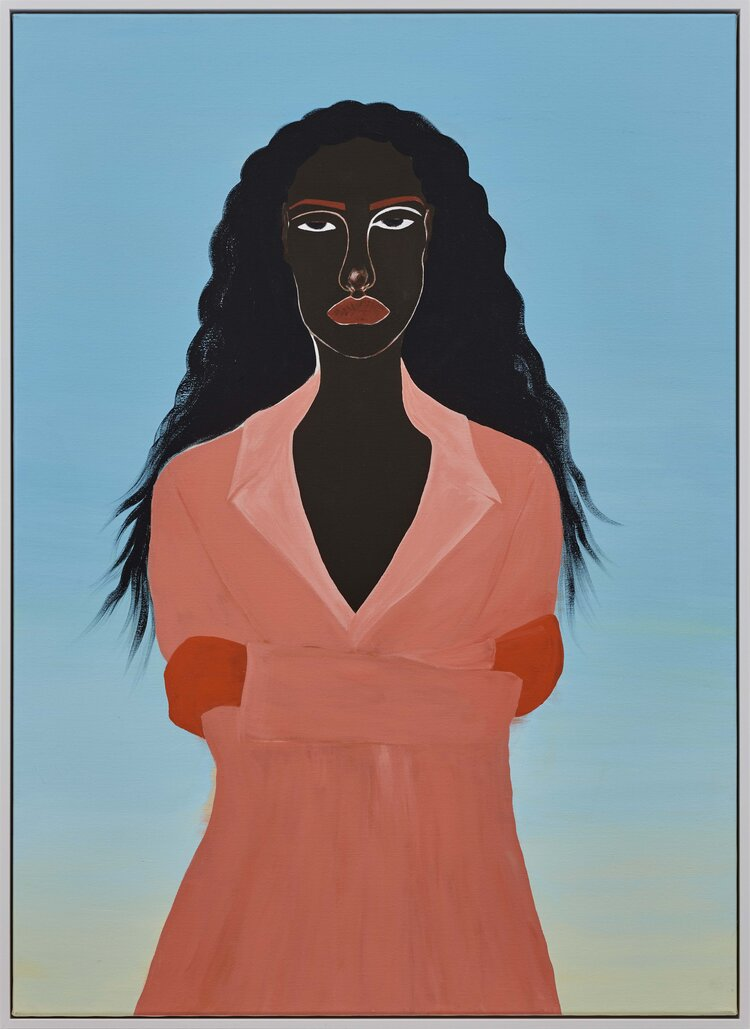 Against a bright blue background that tapers to white, a dark-skinned woman stands wearing a peach collared jacked with orange gloves. Her wavy hair flows in wispy brushstrokes behind her, and she stares at the viewer in indifference with arms crossed.