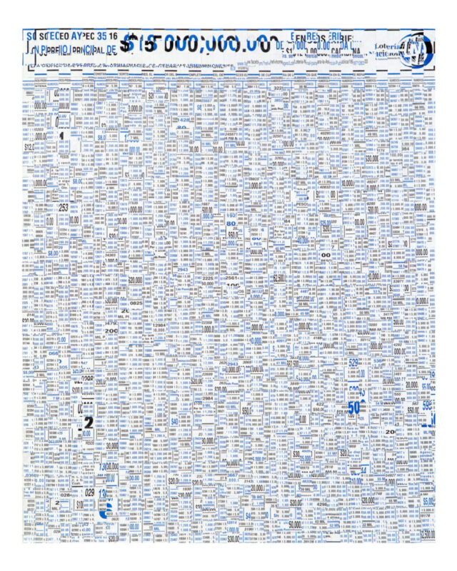 A rectangular work made up of blue and black pieces of paper interwoven together with currency amounts and words in Spanish.