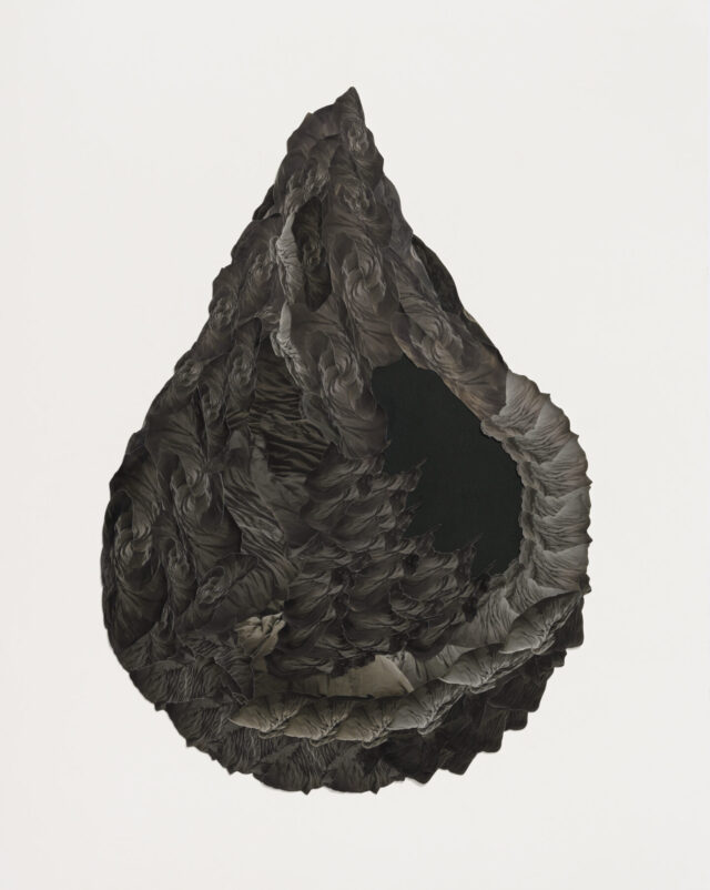 A black work in the shape of a teardrop on a white background. The object has cavernous textures on its surface.