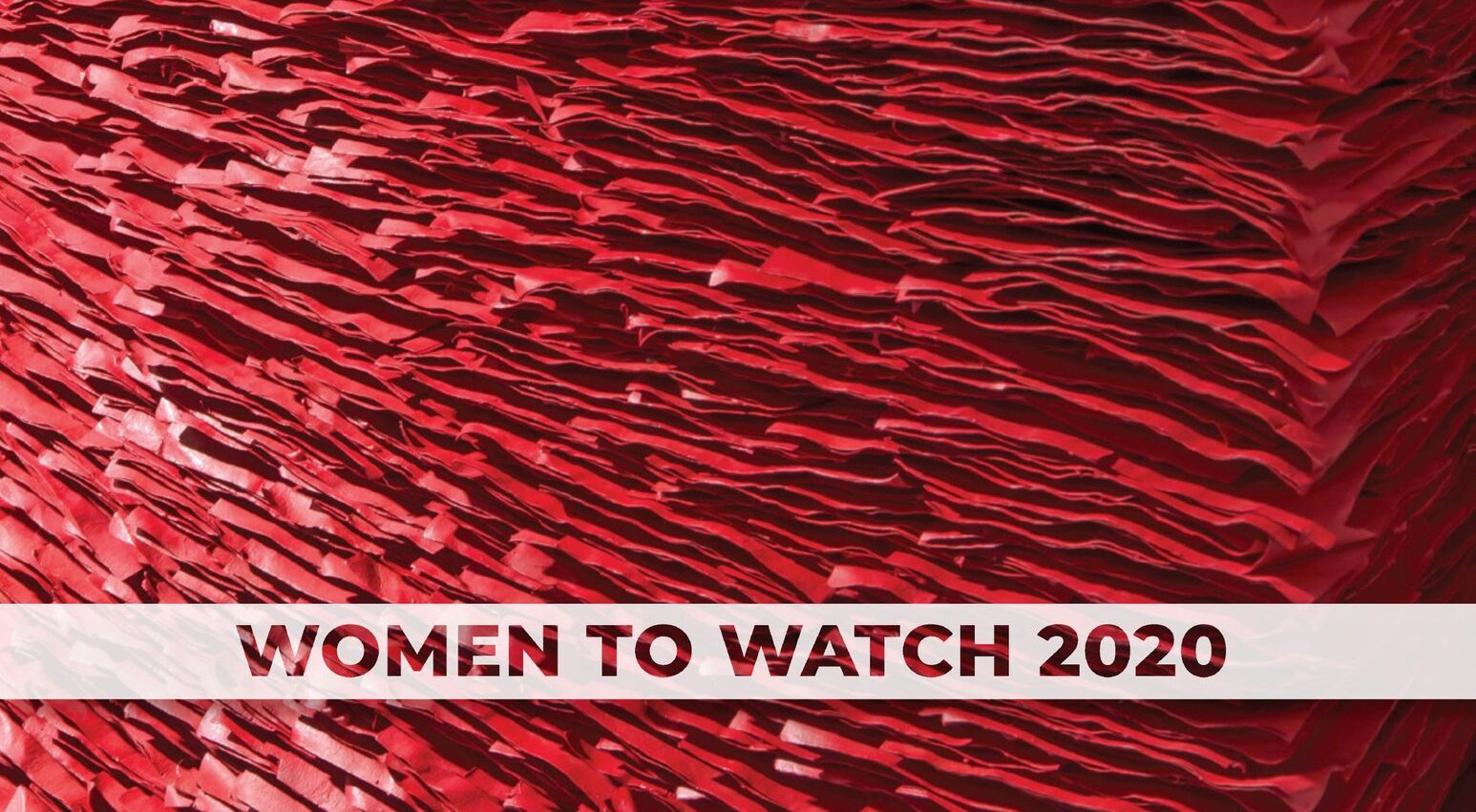 Book cover features bright red stacks of crinkled paper radiating from the left side. The books title 'Paper Routes Women to Watch 2020' is in white text.