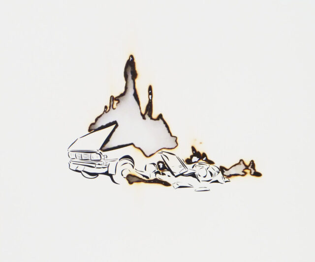 A thin ink drawing of part of a destroyed vehicle's front hood and tires. A void space in the shape of large flames that suggests the car was set on fire.
