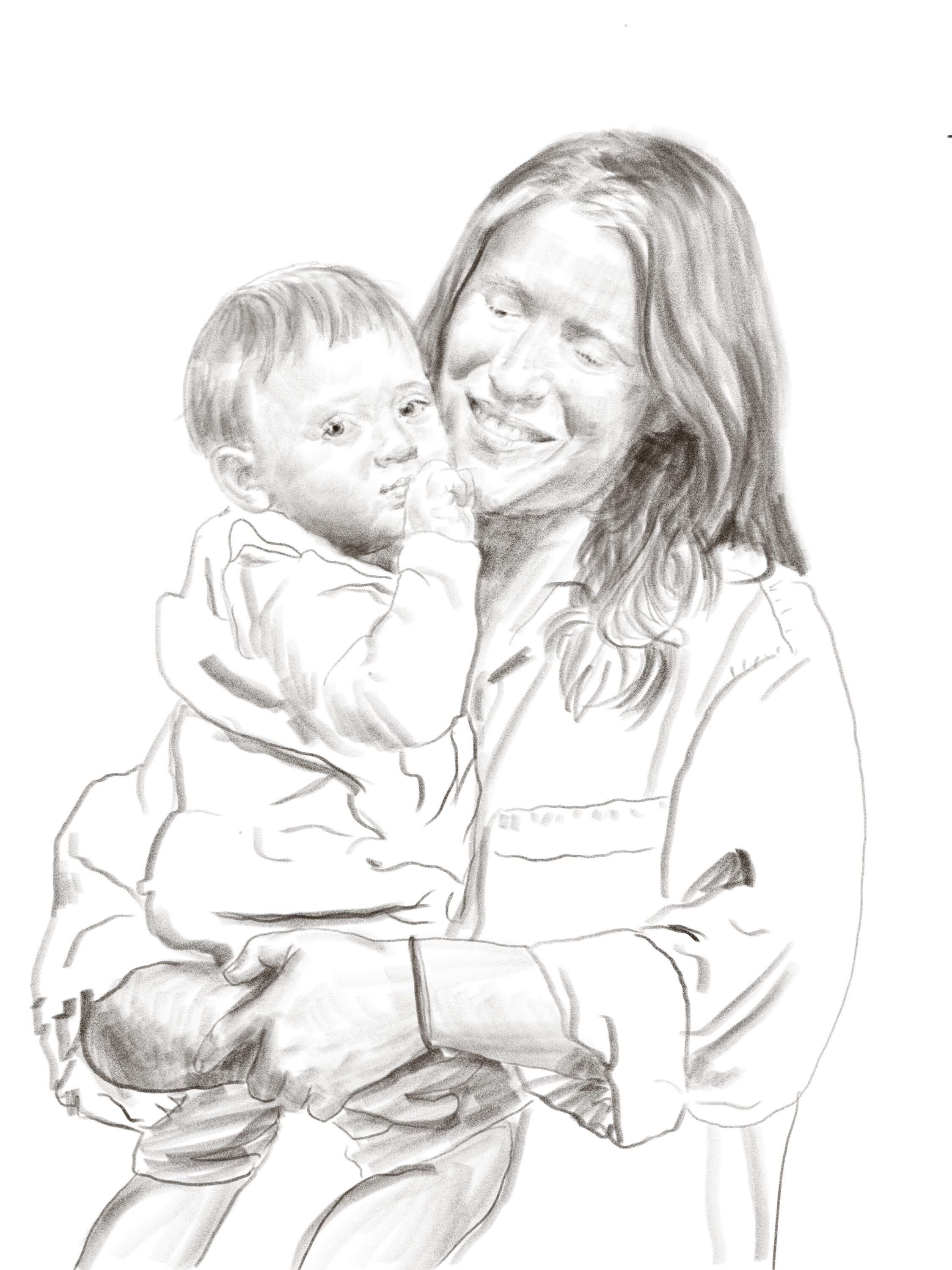A black-and-white pencil drawing showing a smiling woman holding a young boy. She gazes at him lovingly as he stares towards the viewer with his finger in his mouth.