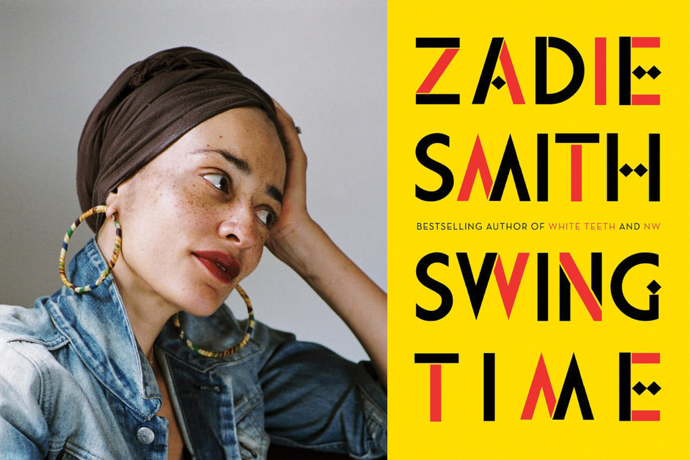 """A composite image featuring, on the left, a portrait of a woman wearing a brown head wrap and large hoop earrings with her hand resting on her hand. On the right is the cover of a novel reading """"Zadie Smith Swing Time"""" on a bright yellow background."""