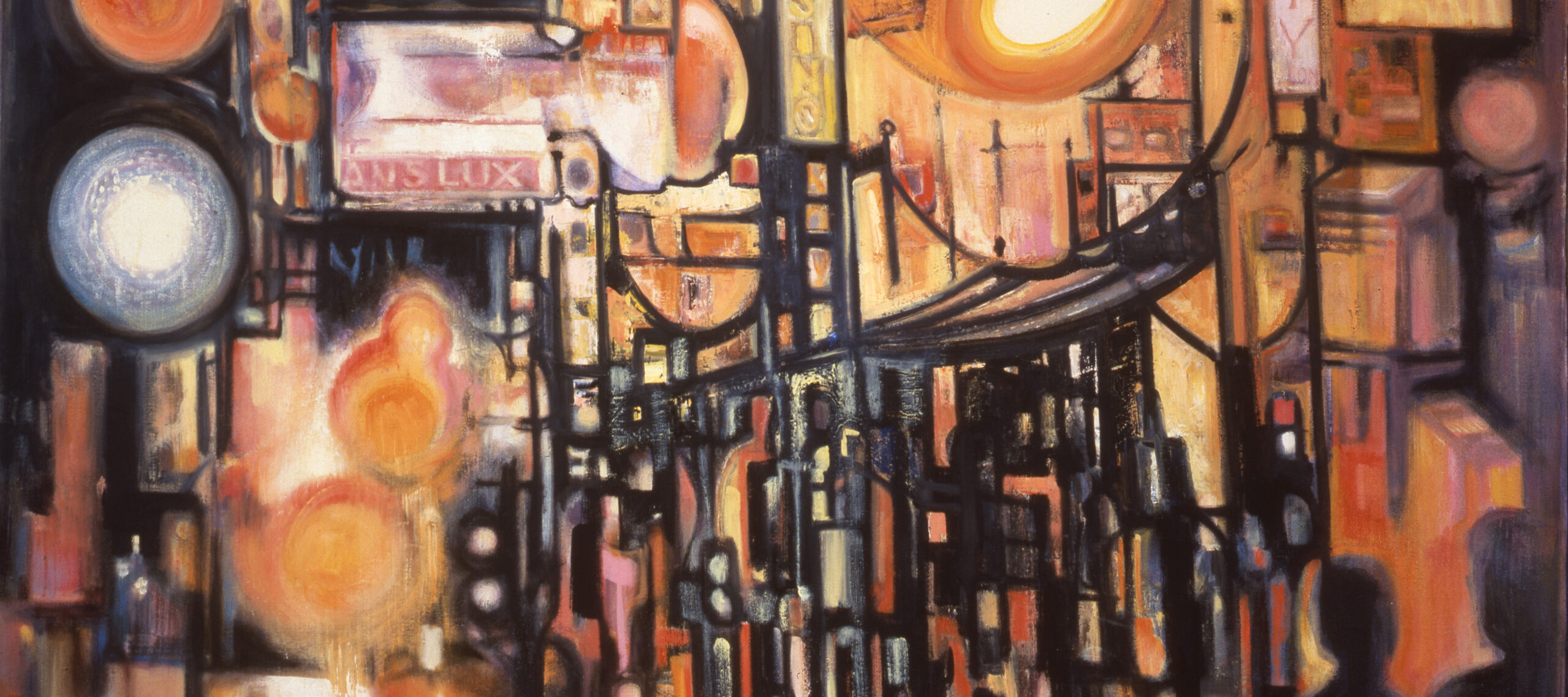 """Heavy black lines along with circles and ovals rendered in hot hues of orange and yellow evoke urban architecture and the glare of streetlights in an abstract painting. Two shadowy figures occupy the lower right, and legible signs include """"Translux,"""" """"St. H NW,"""" and """"Casino."""""""