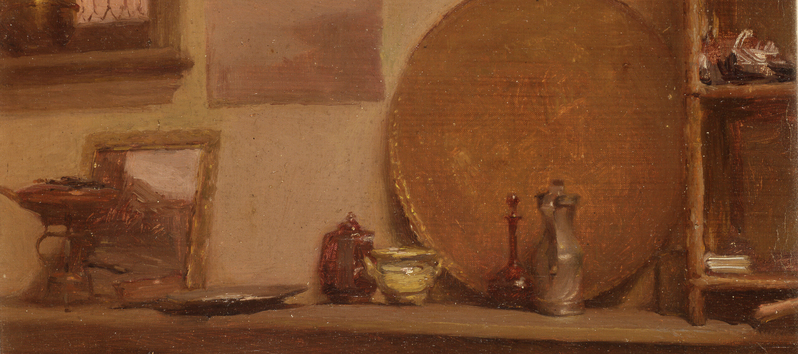 Six small vessels in red and gold tones and a small framed abstract painting sit on a table. Behind the vessels a large dark gold tray rests against the wall next to a shelving unit with abstract forms on its two shelves. To the left of the tray are two unframed abstract paintings in pink tones hanging on the wall and a gold vase sits on a sill in front of the window in the top left corner of the painting.