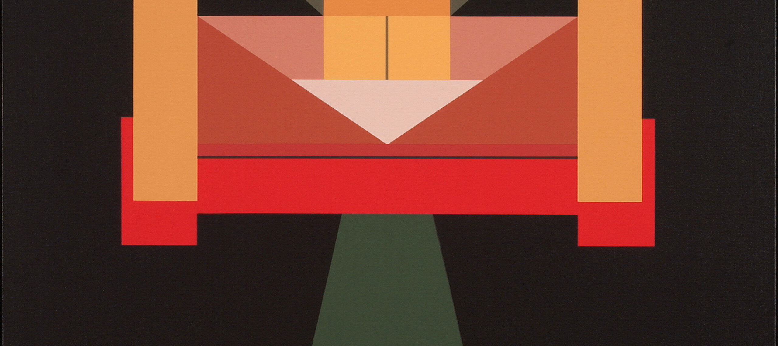 An abstract geometric painting featuring three peach colored rectangular columns atop a plane of dark brown, grey, and teal green. There are also red, pink, and white segments that form triangles, rectangles, and squares.