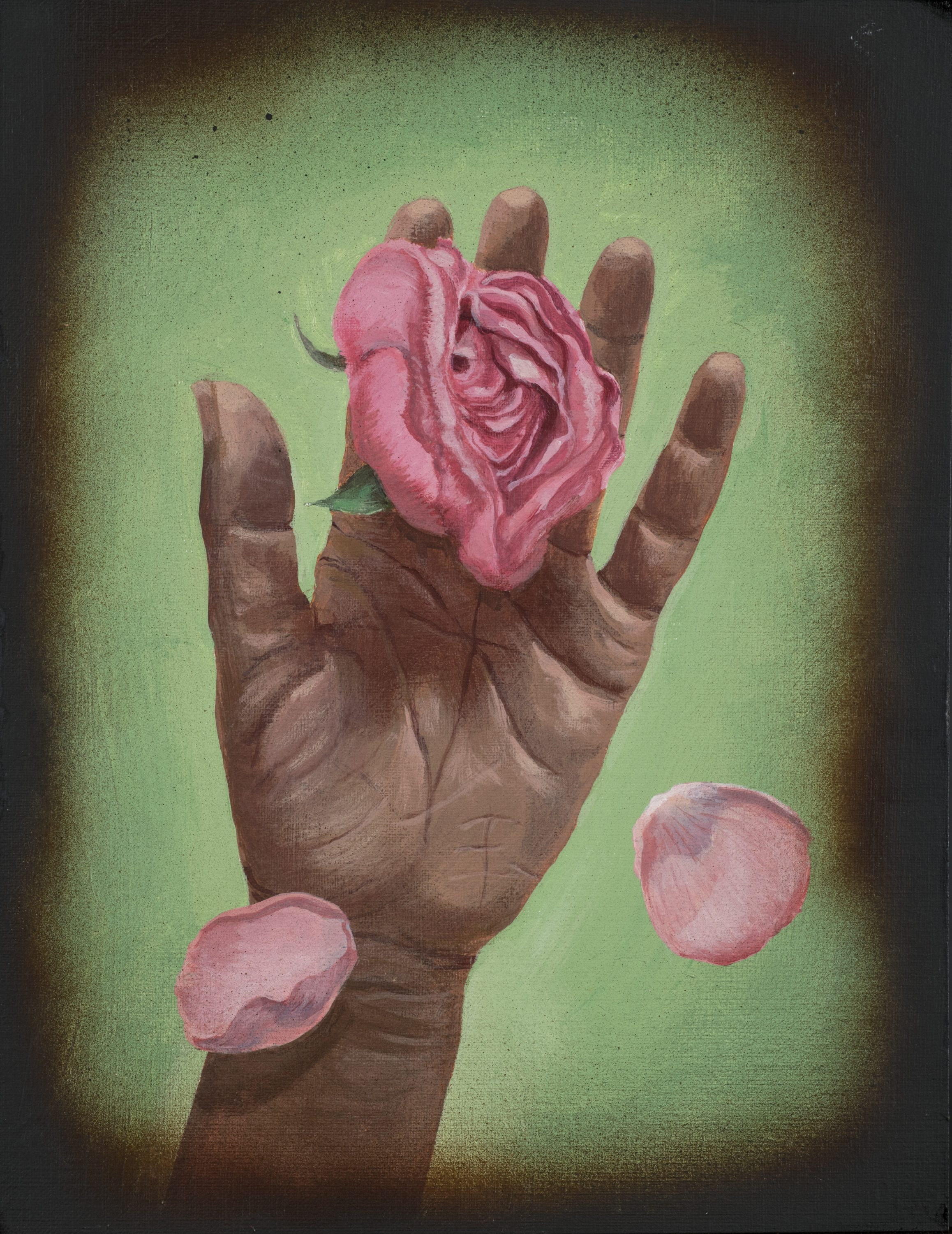 A realistic painting of a medium-dark skinned left hand facing palm-up against a light green background that fades to black. Resting on the hand is a pink rose and two full petals are falling from it.