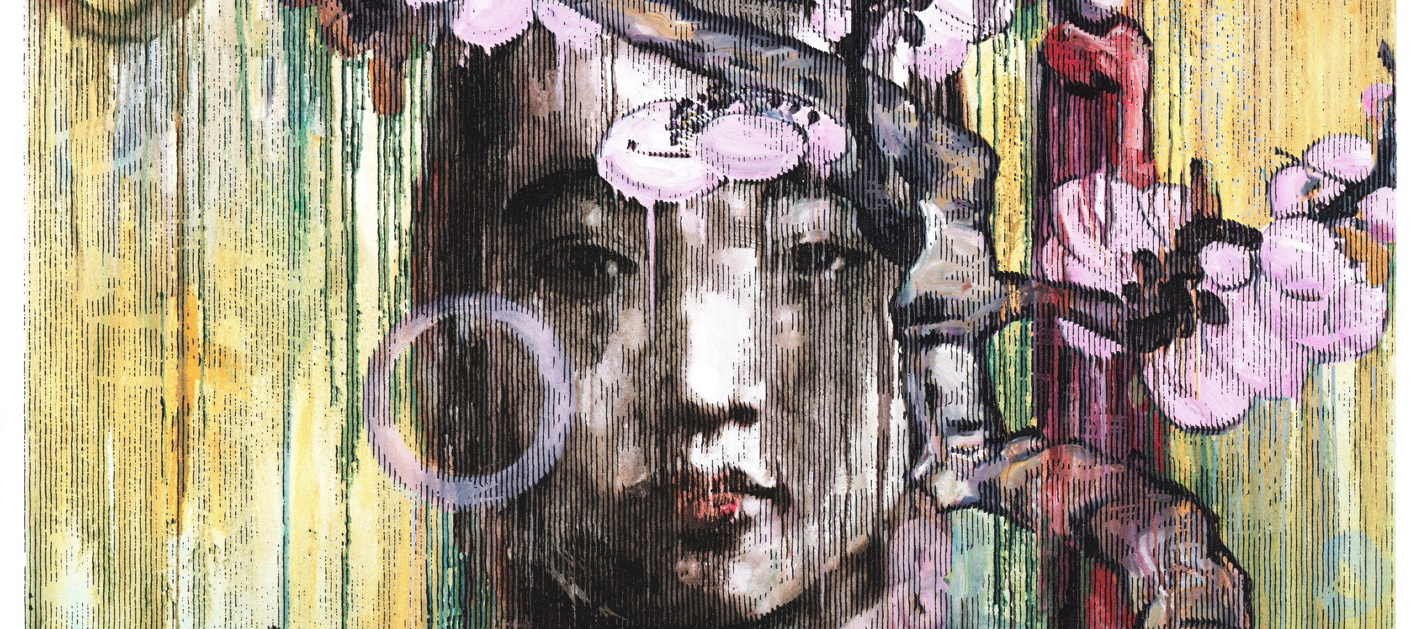 A square painting with layered, dripping textures of a light-skinned Chinese woman with dark hair and red lips seen from the shoulders up. She gazes straightforward at the viewer and wears a traditional Chinese headdress. She is partially obscured by a branch of pink blossoms.