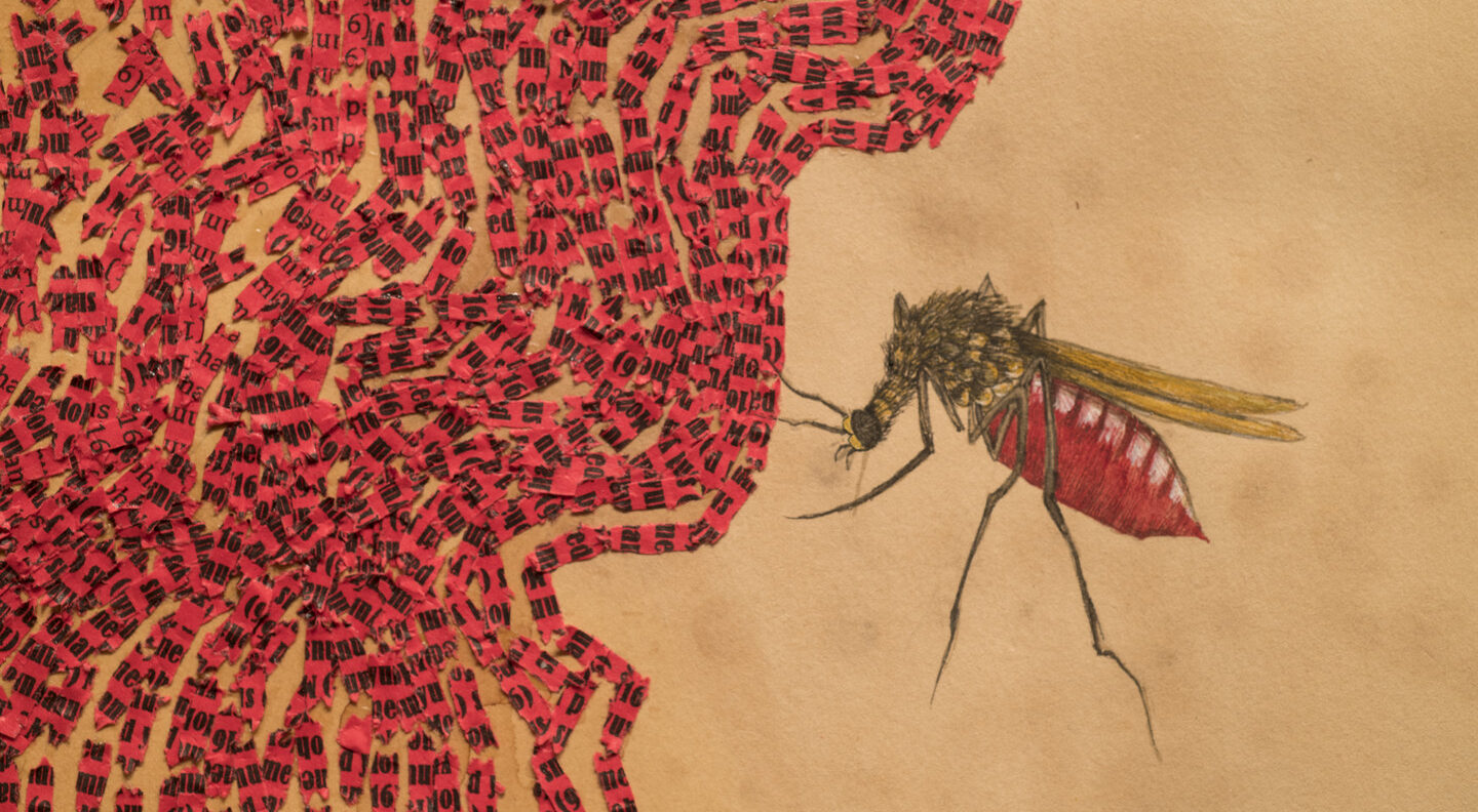 Collaged pieces of red paper with black text are arranged in waves along the left side of a canvas the color of stained tea. On the right side is a hovering insect with wings and red body.