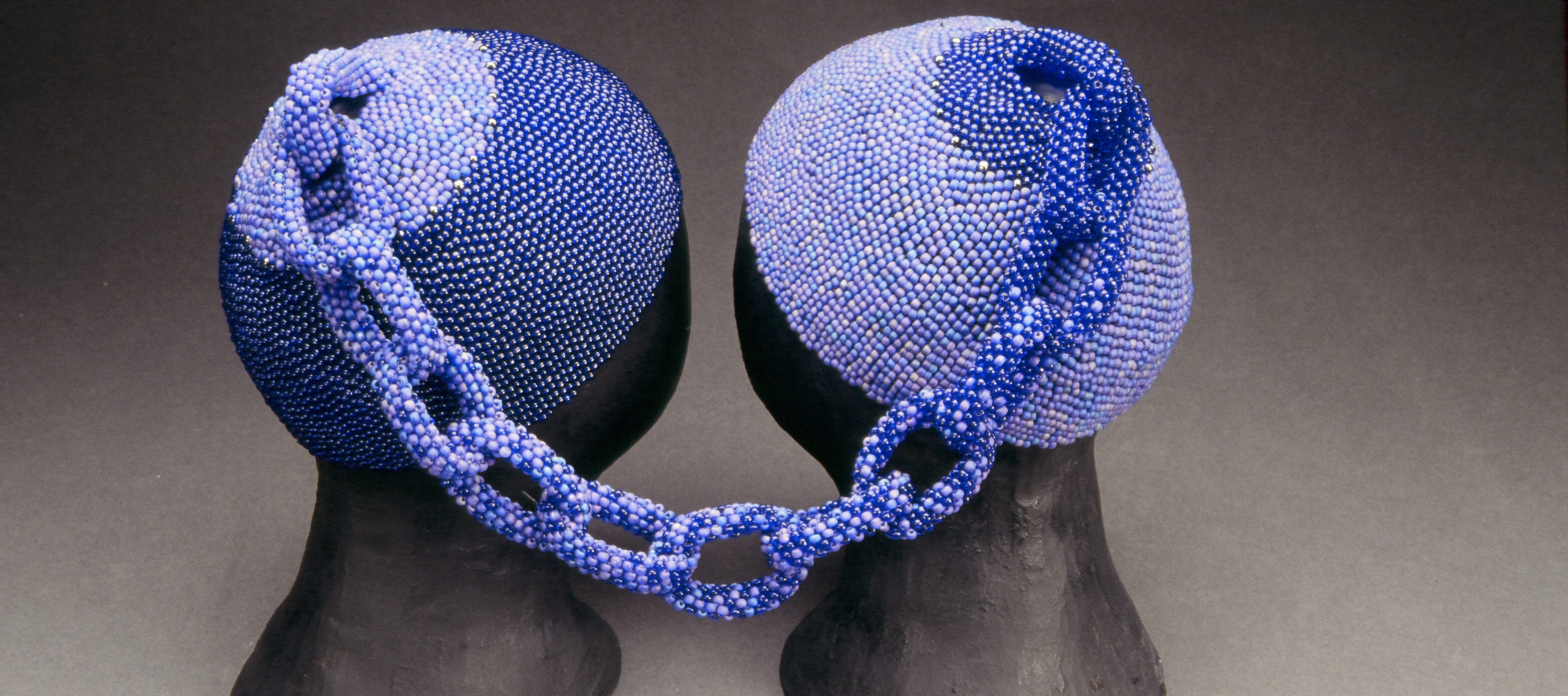 Sonya Clark, <i>Blued</i>, 1998; Glass beads, 9 x 14 x 9 in.; Private collection; © Sonya Clark; Photo by Tom McInaville