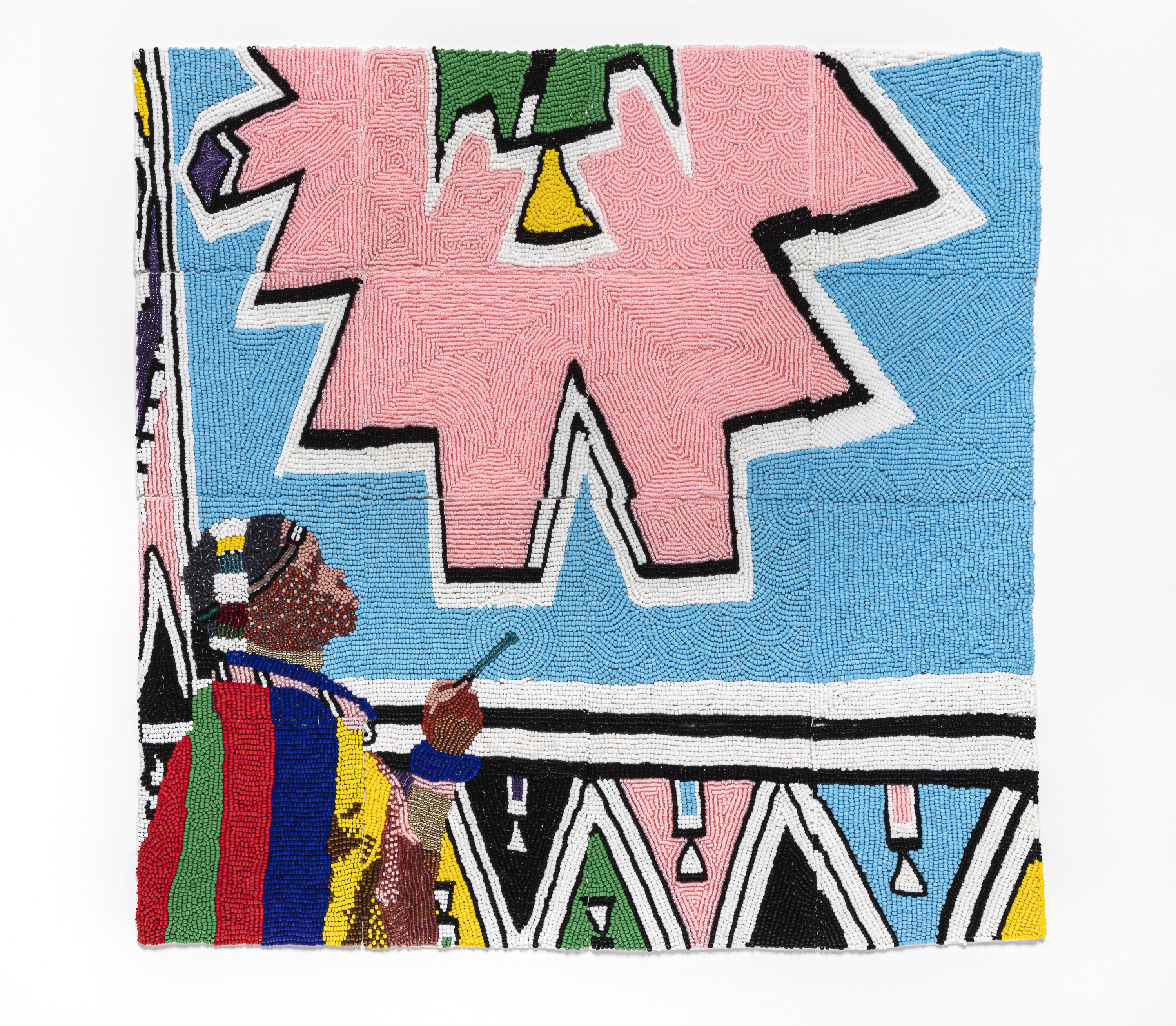 Tiny, colorful beads arranged in patterns to depict Esther Mahlangu painting a large artwork of geometric shapes in light pink and blue, black, white, yellow, and green. She is a dark-skinned adult woman wearing colorfully patterned robes.