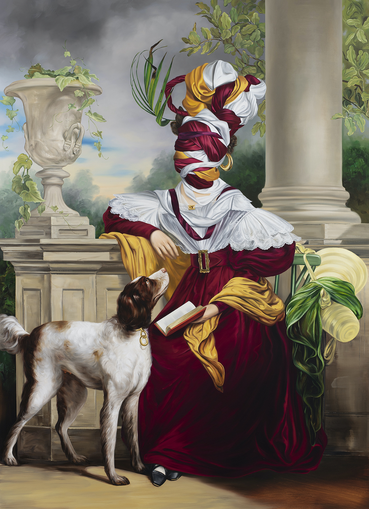 An ornate oil painting in the style of 18th or 19th century European portriature featuring a woman sitting in ornate dress with her face bound and obscured by the dress fabric, in a tall sculptural turban. Below her a brown and white dogs looks up. She has a book in her hand, with the other resting on a white column atop which a vase with ivy sits.