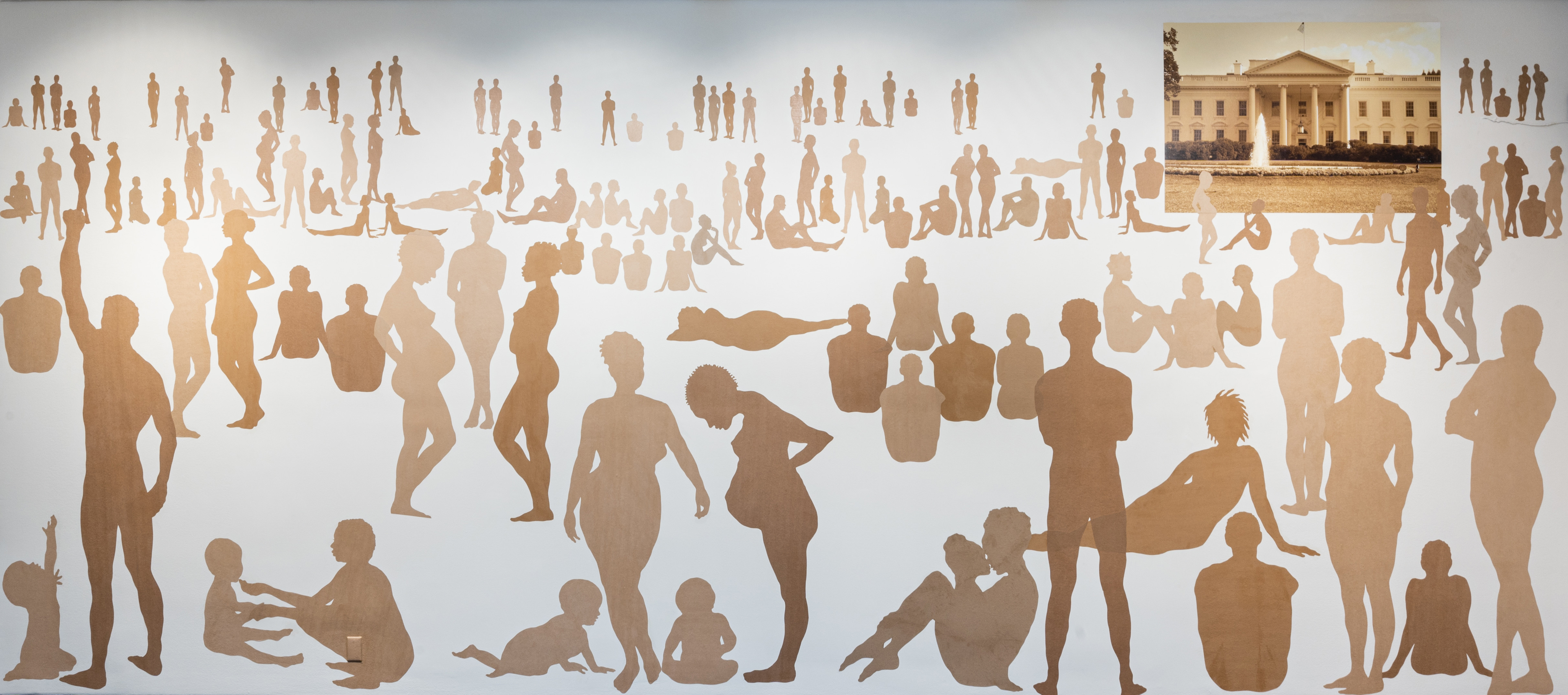 Over 100 silhouetted figures of varying ages, shapes, poses, and skin tones on a large white wall. In the top-right corner is a rectangular picture of the White House.