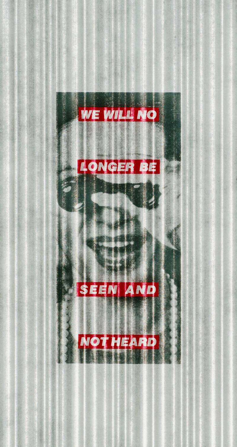 """Black and white image of a light skinned woman in a pearl necklace and holding binoculars to her eyes, on a gray and white vertically striped background. Superimposed over the image are four red horizontal bands with """"We will no longer be seen and not heard"""" in white block letters."""