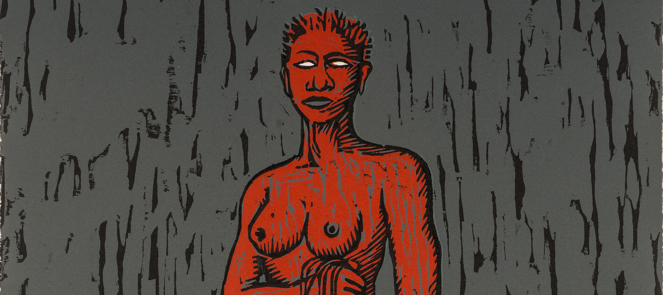 A red, nude, adult female figure with white eyes and short-cropped hair stands in a pile of long, dark hair while holding long strands of dark hair in her right hand. In her left hand is a white blade. The background is gray with choppy, vertical, black lines.