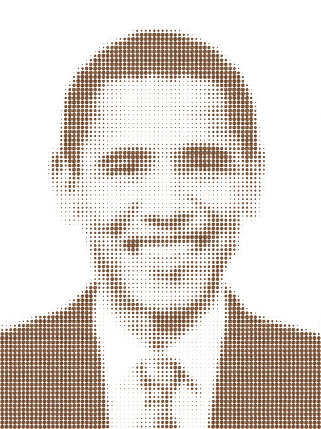 A portrait of former United States president Barack Obama. The portrait is composed of thousands of digital prints of pennies scaled to varying sizes for form a figure from the neck up. The portrait shows the former president smiling, wearing a dark jacket, white shirt, and tie.