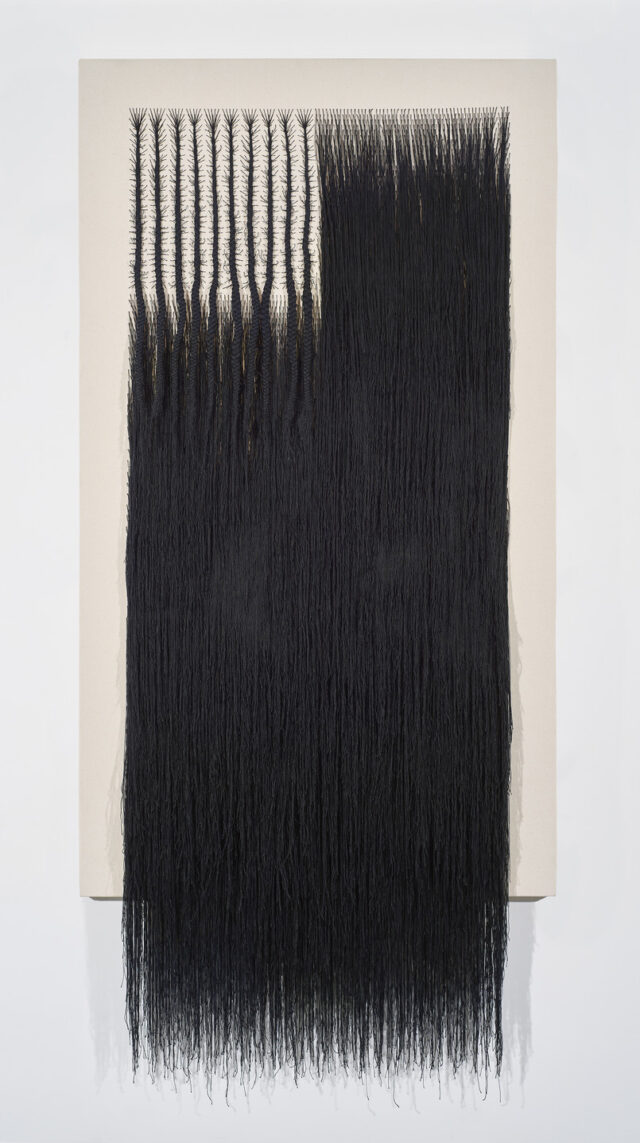 A vertical rectangular canvas woven with black cotton thread. The thread has been braided into the approximate form of an American flag. Where the stars would be, the thread forms branching cornrows, and where the stripes would be, the thread hangs densely, like hair.