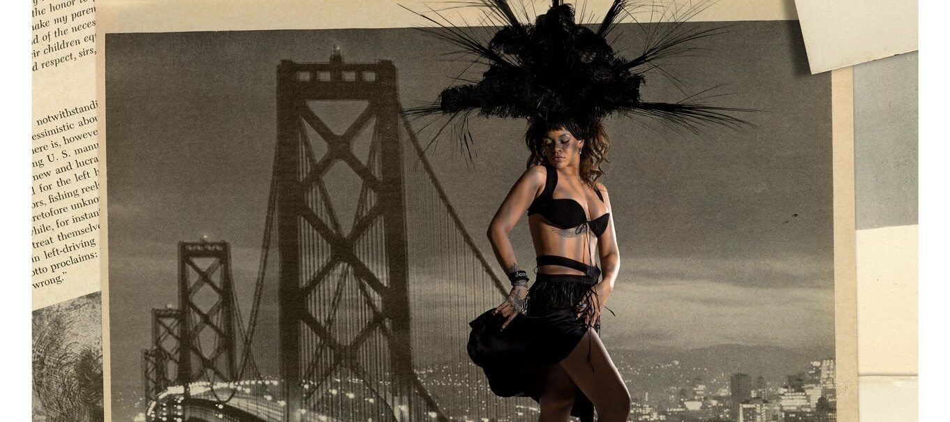 A collage of pop star Rihanna wearing a black bra, skirt, and elaborate black feathered headdress overlaid atop a vintage photograph of the Brooklyn Bridge.