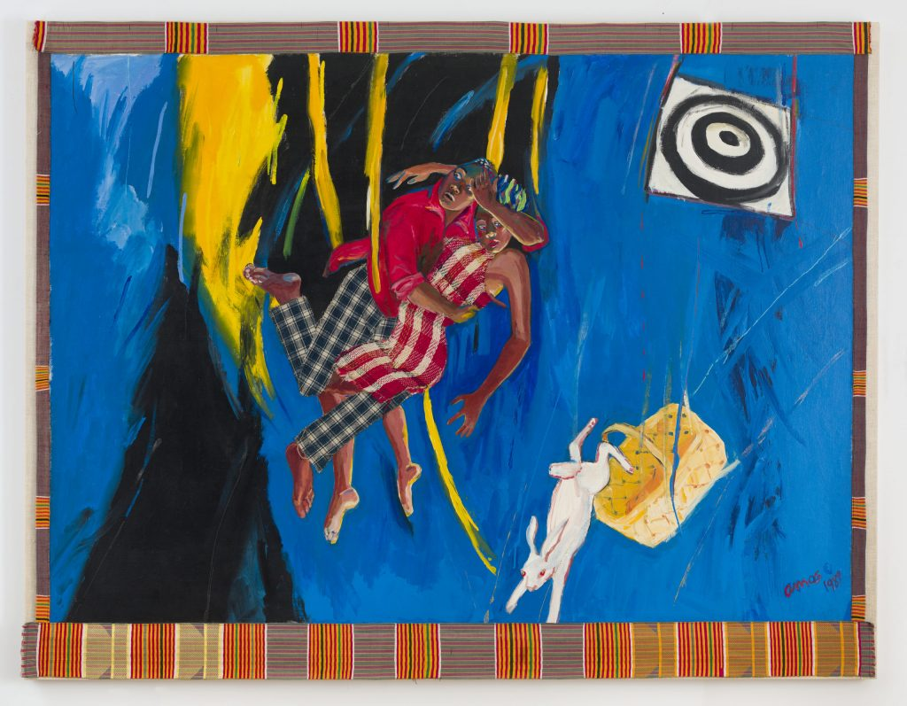 A painting of two dark-skinned figures in nice clothing falling through space, their bodies intertwined and a perplexed look on each face. Below them, also falling is a white rabbit tumbling out of a woven basket, and above them is a white and black dart board. The background is full of gestural strokes of bright blue, marked by some black and yellow directly behind the couple.