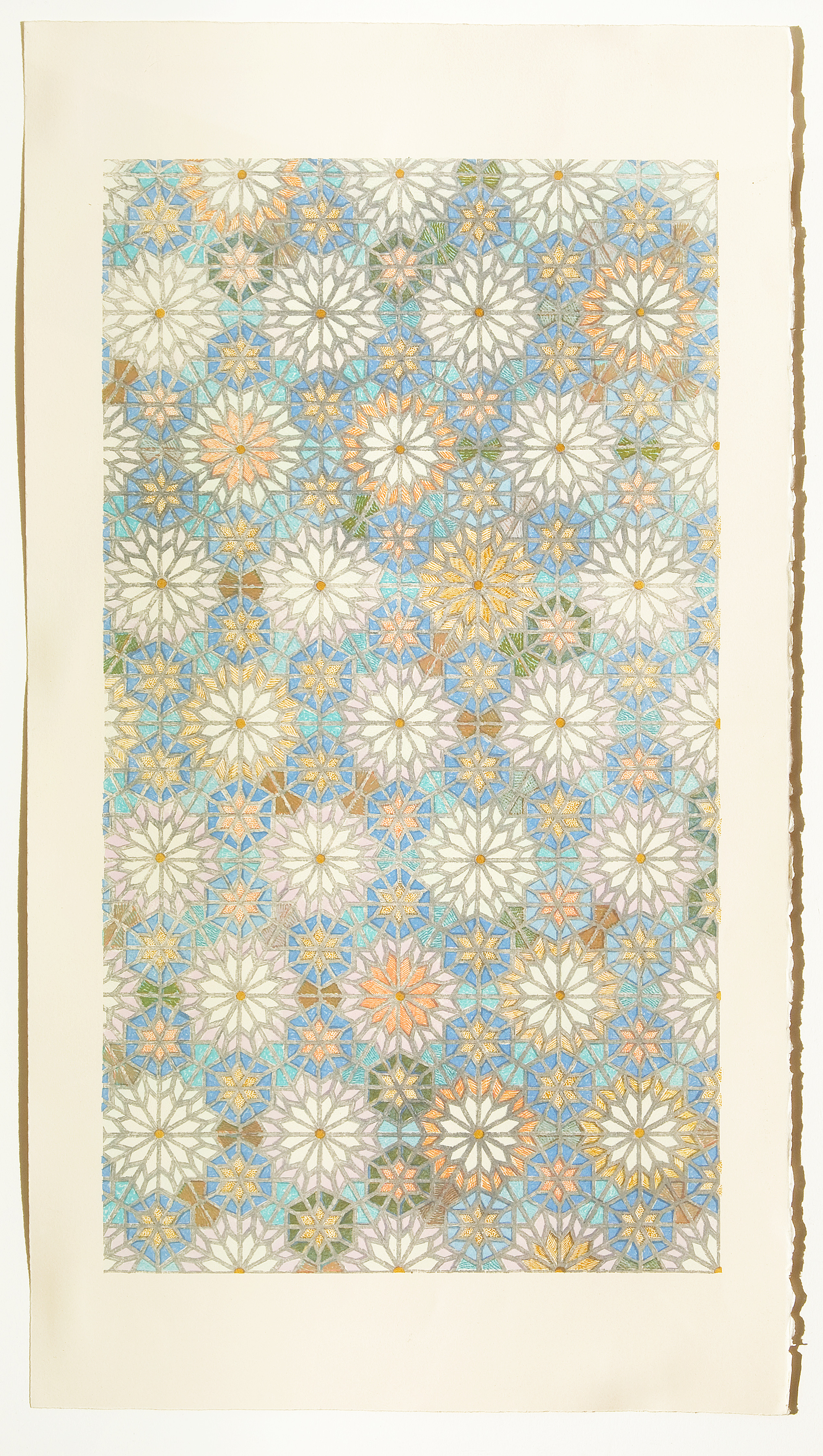 A large, vertical lithograph featuring patterns of flowers or circular burts in colors of cream, orange, and blue.