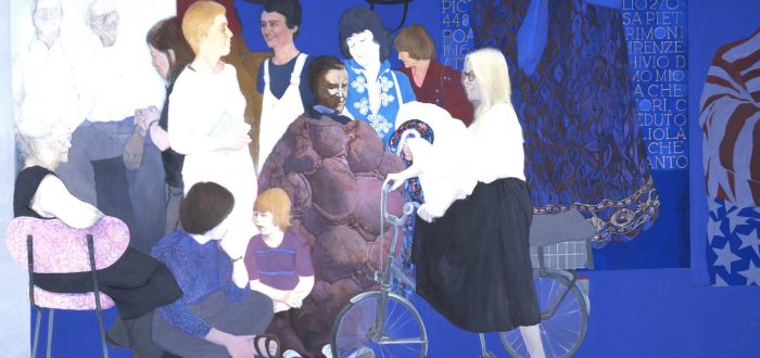 Life-sized, full-length portraits of 12 individuals form a frieze-like composition against a saturated lapis-blue background. Most of those portrayed are noted feminist artists and critics. Details from the artist's earlier paintings appear above and to t