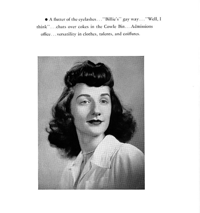 A yearbook portrait from the mid-1940's features a light-skinned woman with dark, shoulder-length hair and short, thick bangs that end mid-forehead. She wears a dark lipstick color. Atop the photo is a typed series of information about her; below is her n