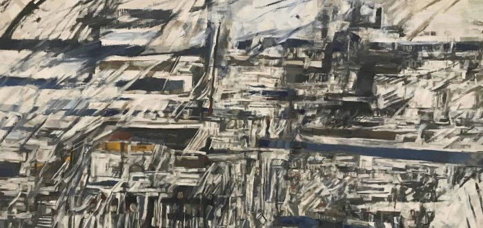 Landscape-oriented, rectangular painting of black lines and slashes across white. The black lines run vertically and horizontally, and appear to be slashed through while the paint was wet, evoking raindrops running down a window during a storm.