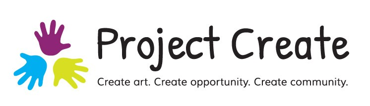 Logo for Project Create which features three handprints in blue, purple, and chartreuse that are arranged in a triangle with the fingers facing out. Next to it in black is text reading, 'Project Create' and 'Create art. Create opportunity. Create community.'