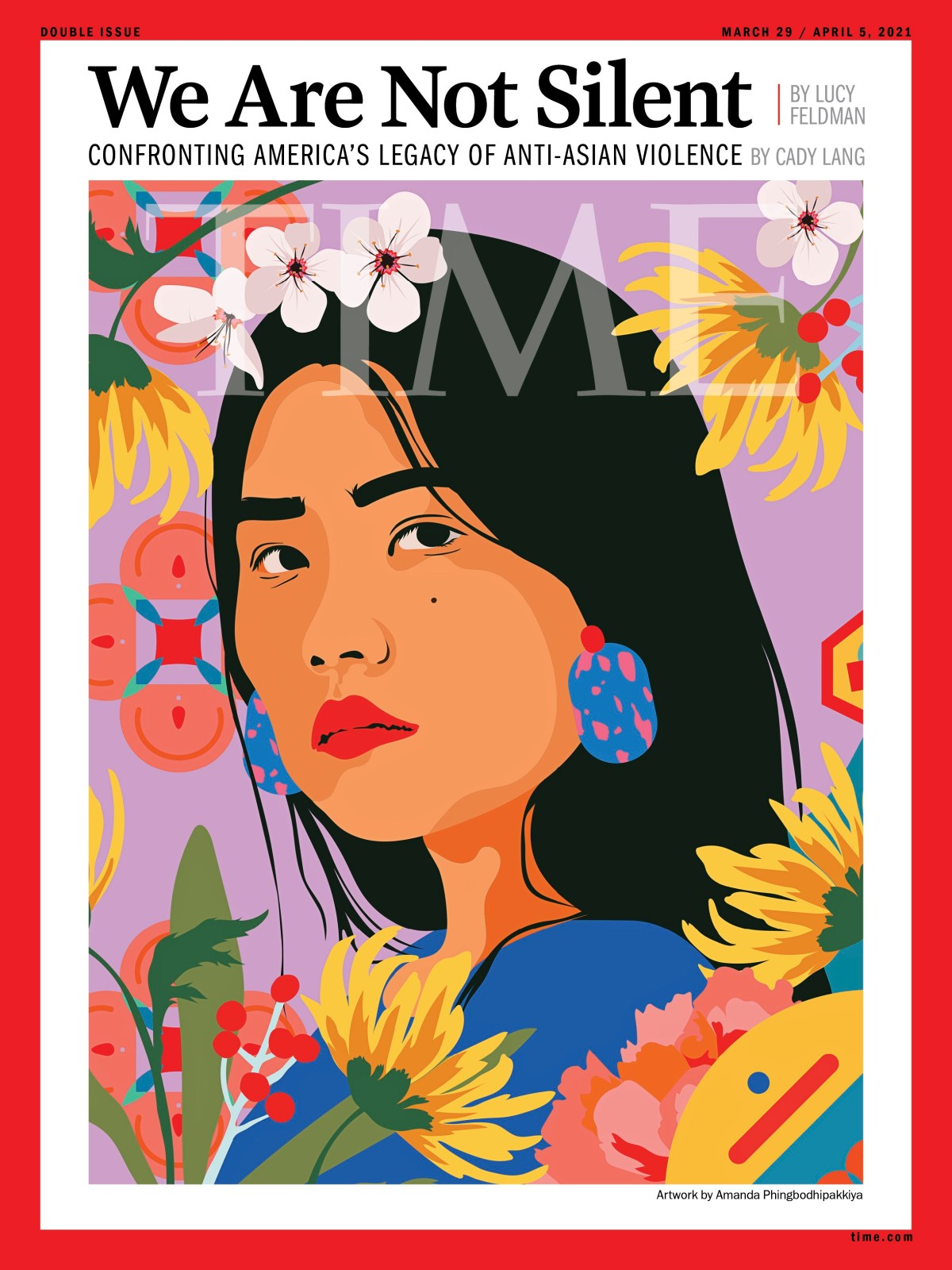 A cover of Time magazine featuring a painting of a woman of Asian or Pacific Islander descent gazing out boldly amid a festoon of flowers.
