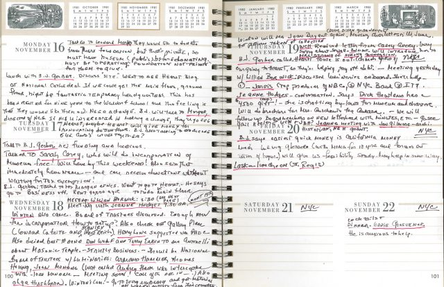 Two pages from a 1981 daily planner that include copious handwritten notes in black ink for the week of November 16 to 22. Occasional names are underlined in red ink.
