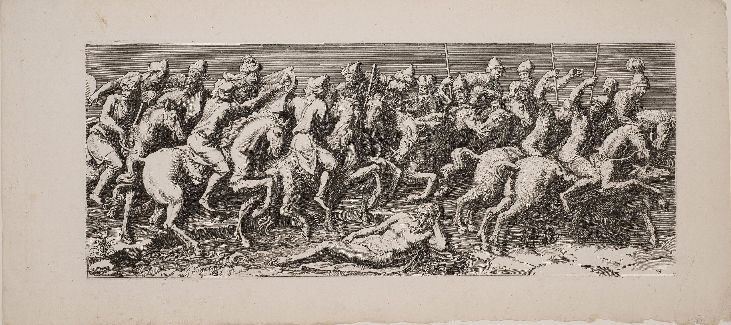 A black-and-white, horizontal print depicts multiple Roman-style male figures on horseback. They hold weapons or brass musical instruments and process, somewhat chaotically, towards the viewer's right.