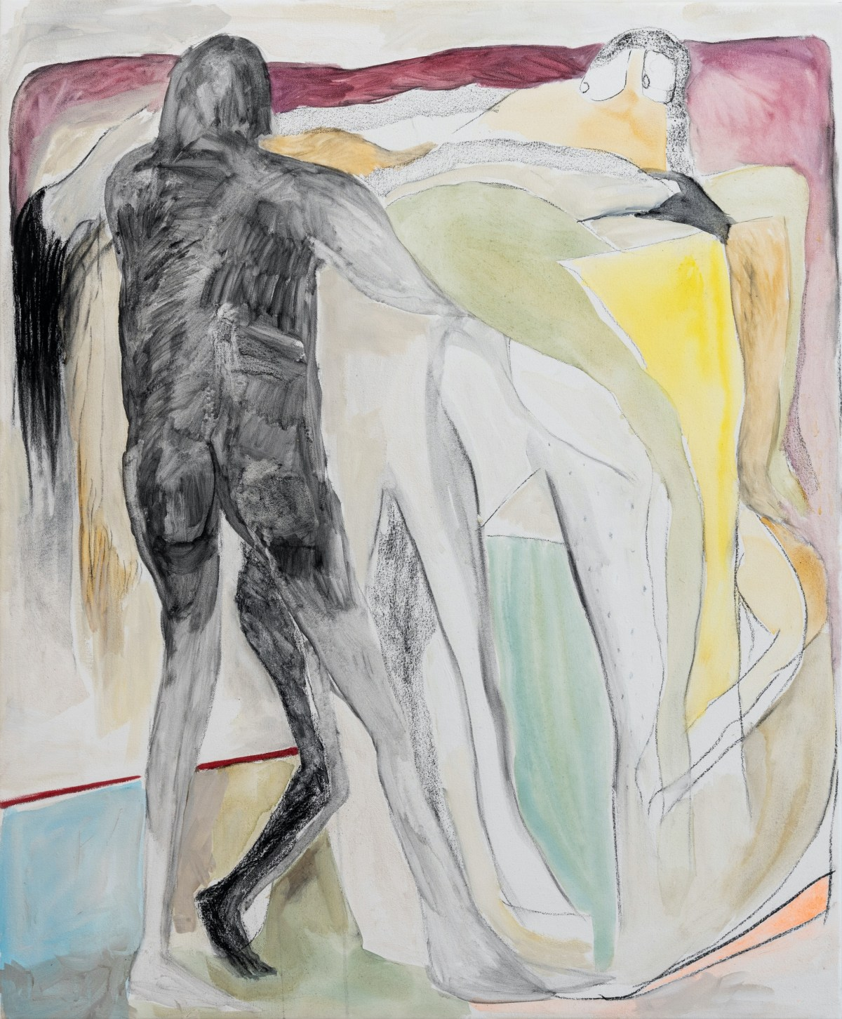 An abstract painting of human figures layered atop one another.