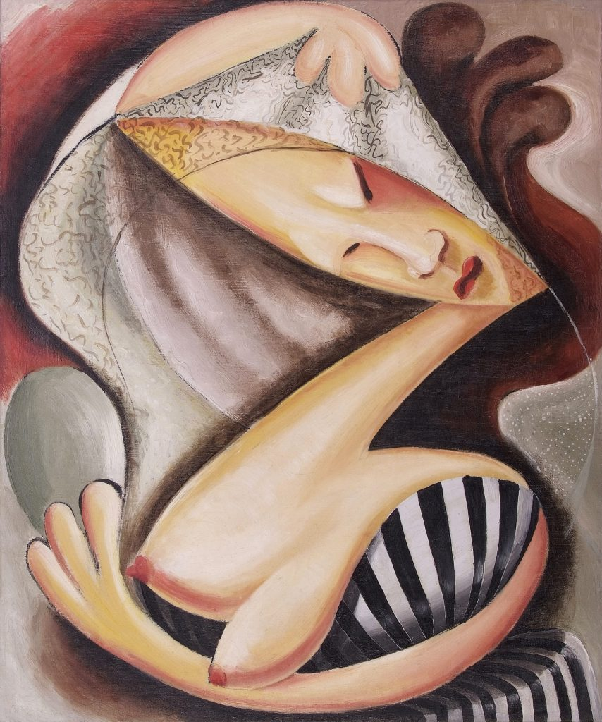 An abstract painting featuring the breasts and face of a woman distorted in a strange, hourglass shape with the figure's hands framing the top and bottom.