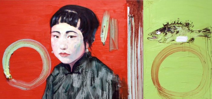 A painting of a light-skinned woman of Asian descent atop complementary colors of orange-red next to lime green. The shorthaired woman holds a pink handkerchief. To her right is a sad looking fish.