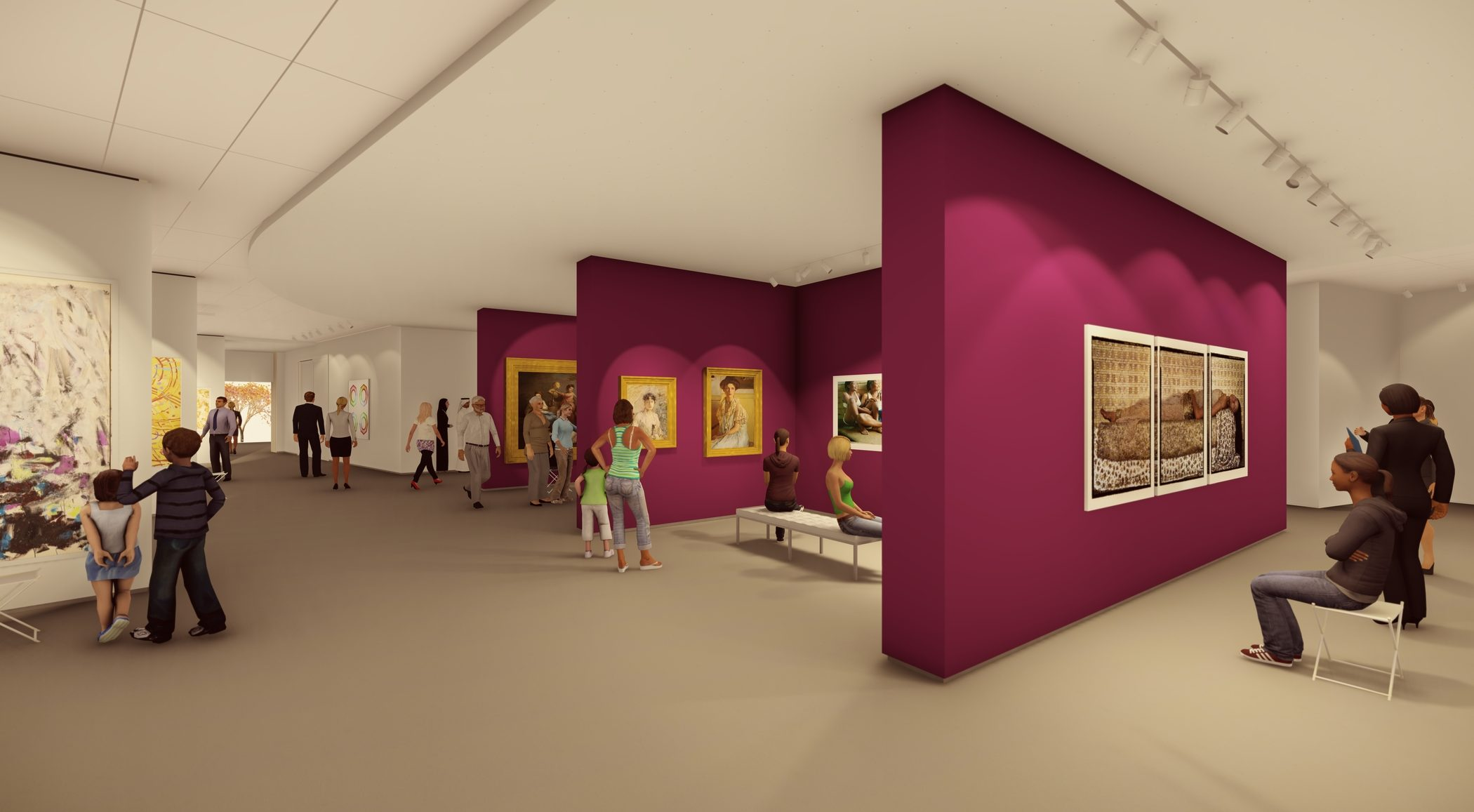 Architectural rendering of the gallery. People of all ages look at artwork hung on white and magenta walls.