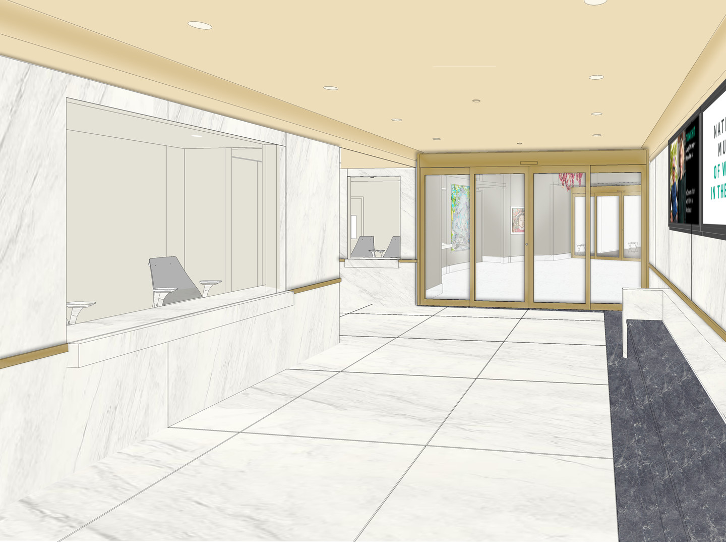 Architectural rendering of the museum lobby with glass doors, screen, and admission area.