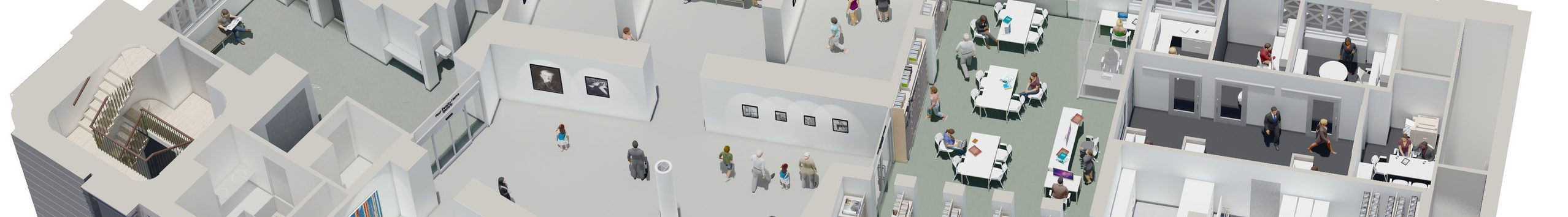 Rendering from above of the Library and Education Center.