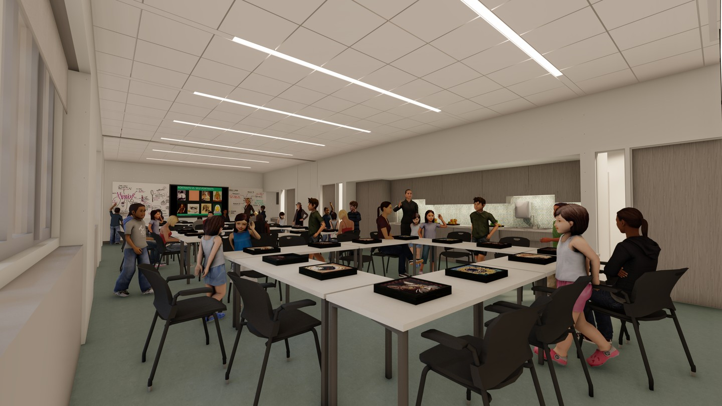 Architectural rendering of the education studio filled with tables, chairs, and people of all ages.