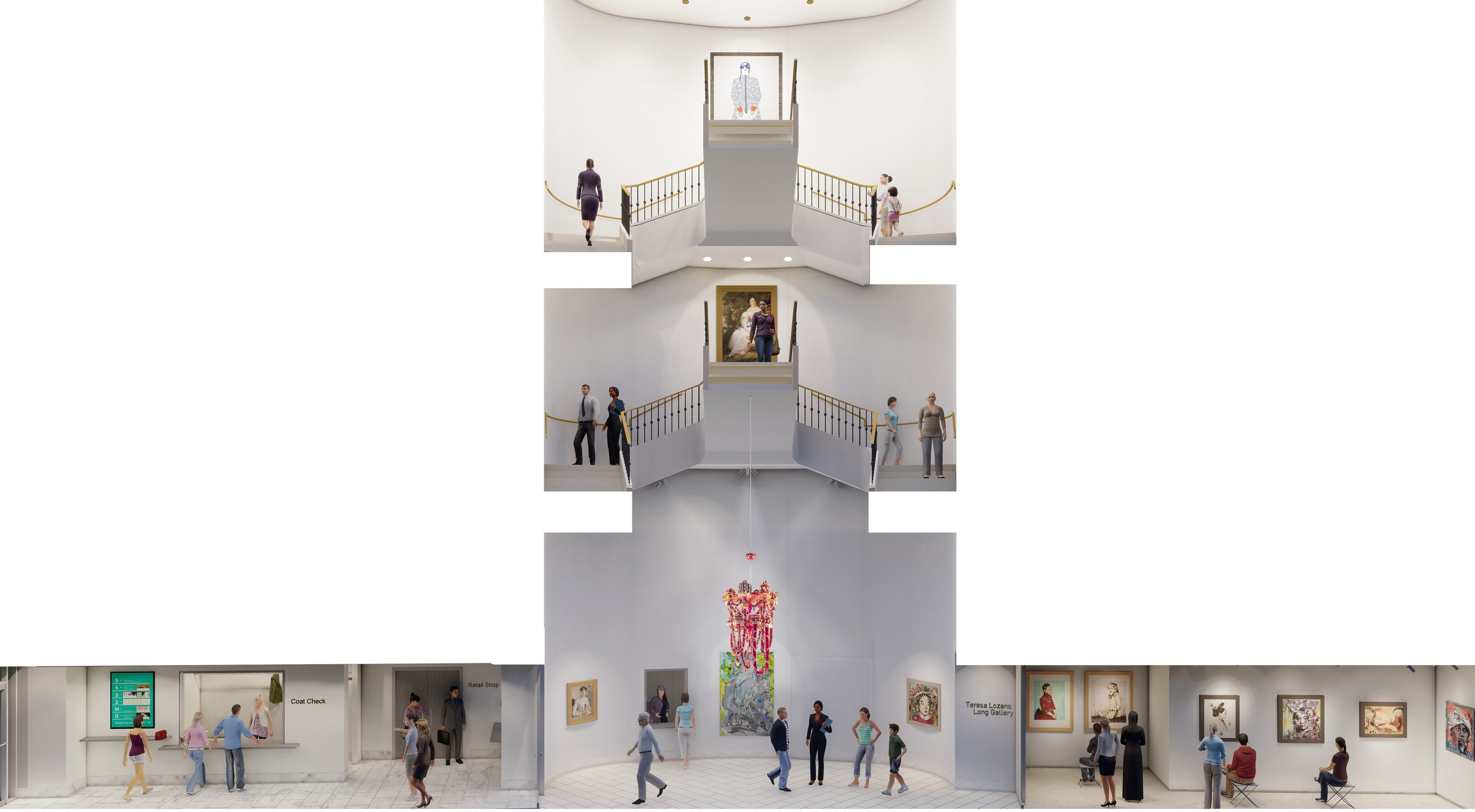 Rendering shaped like an upside-down letter T shows the museum great hall and stairwell.