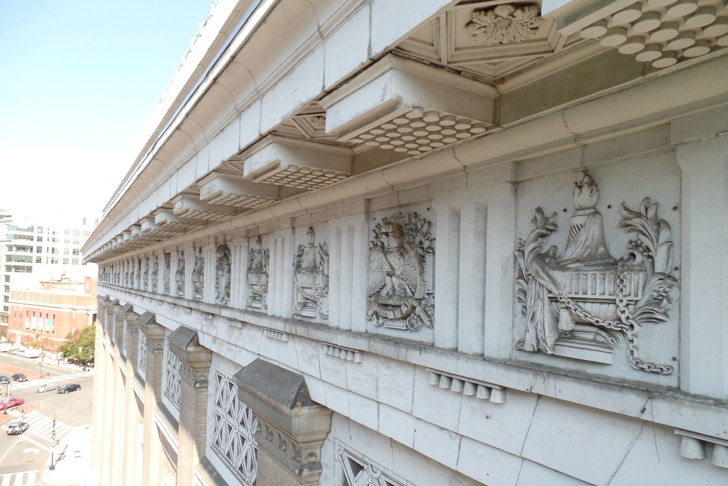 Detail of the building exterior's intricate roof architectural decoration.