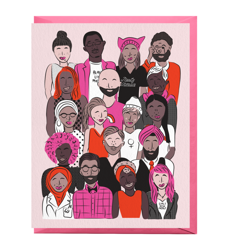 A greeting card featuring an illustration of a mass of different people--women, men, Black, white, Asian.
