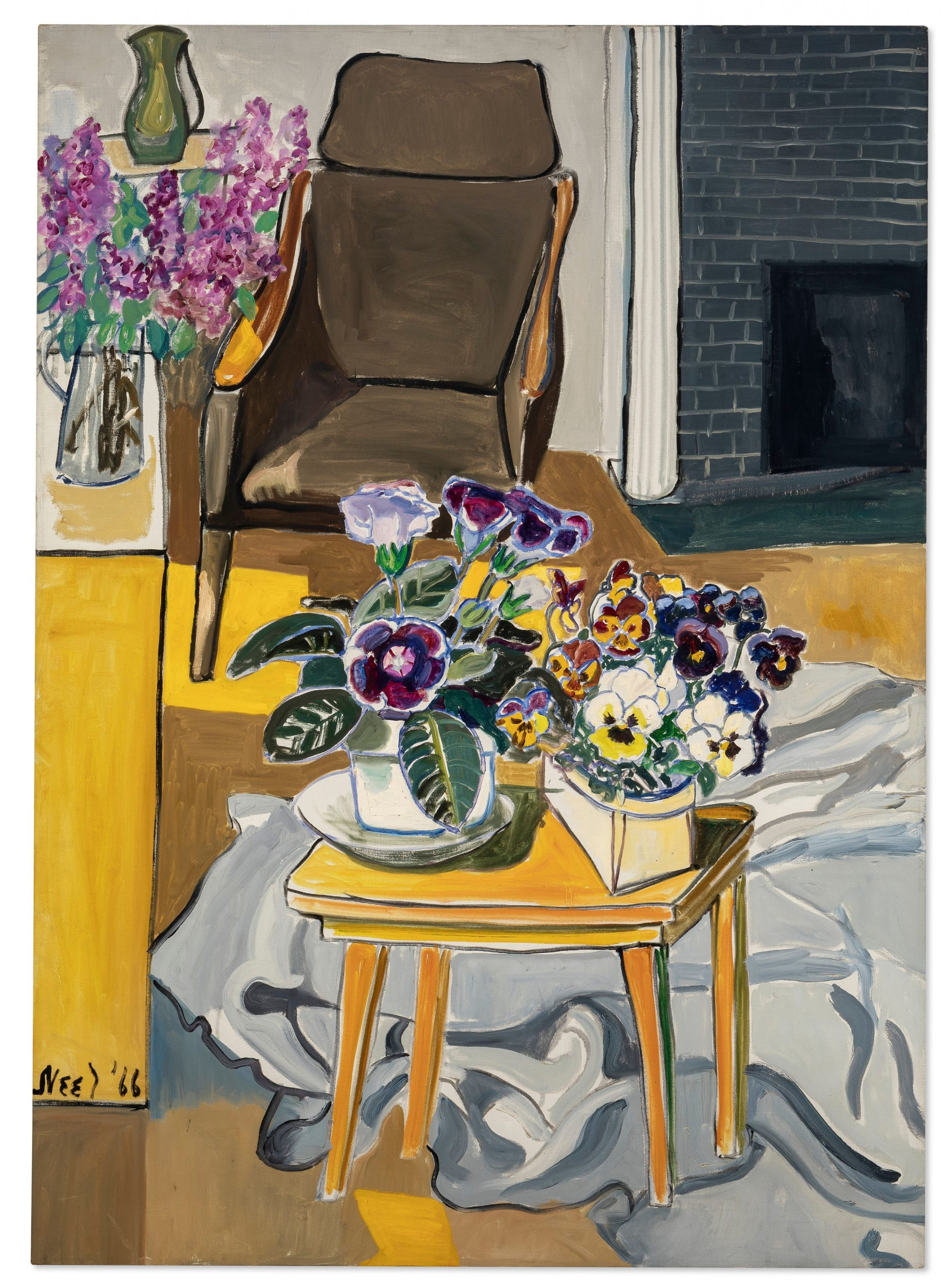 A painting of a doctor's office waiting room, featuring an empty chair next to a fire place and a table in the center of the room with many brightly colored flowers sitting atop it in pots.